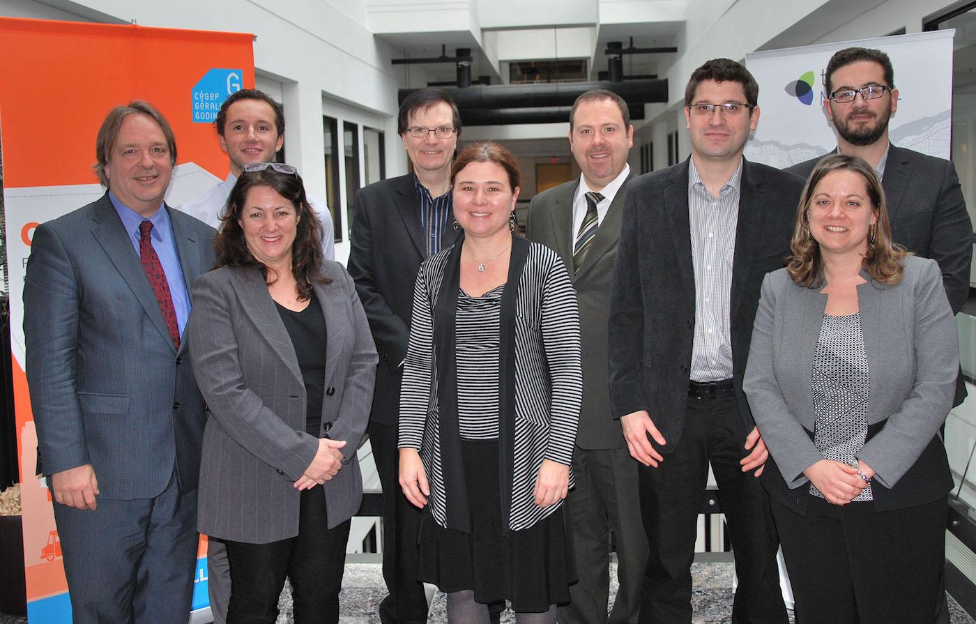 Réunis pour le lancement de CRÉE TA VILLE, de gauche à droite : Christian Roy, Cégep Gérald-Godin; Mike Boutin, Cégep Gérald-Godin; Lidia Divry, TechnoMontréal; Pierre Boucher, Ericsson Canada; Isabelle Provost, Cégep Gérald-Godin; Patrick Leblanc, CGI; Bernard LeBeuf, Académie CHUM; Karine Lord, Cégep Gérald-Godin et Benoit Lévesque, C2 Innovations. (Groupe CNW/Cégep Gérald-Godin)