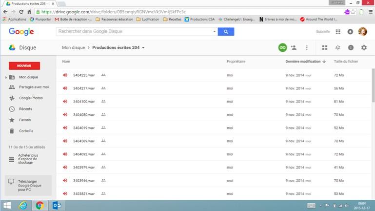 Mme St-Germain rend disponible ses rétroactions audio aux élèves via Google Disque.
